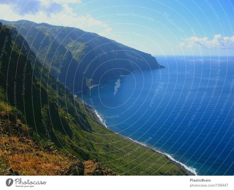 long island Klippe Küste Meer Horizont Madeira Strand Himmel blaues Wasser Ferne