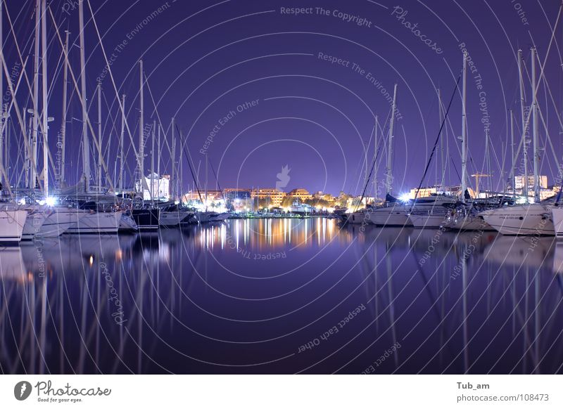 Harbour Sportboot Jetset Erholung Portwein Hafen harbour denia spain calm silent quiet harbor haven water purple mirror night blue reflection blurry blurred