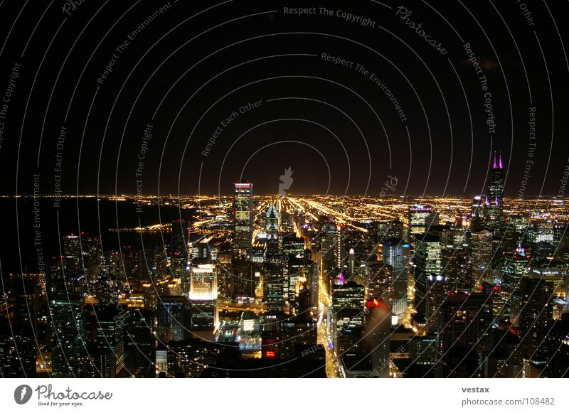 Chicago At Night blau rot gelb USA violett Skyline Sears Tower