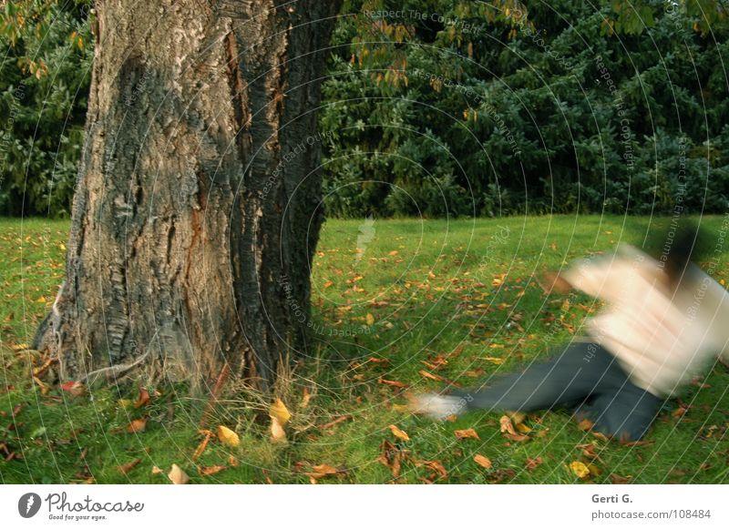 little ghost Baum Baumstamm Wiese Herbst Blatt Herbstlaub grün braun Macht dick stark verwaschen Bewegungsunschärfe Geister u. Gespenster Garten Natur Rasen