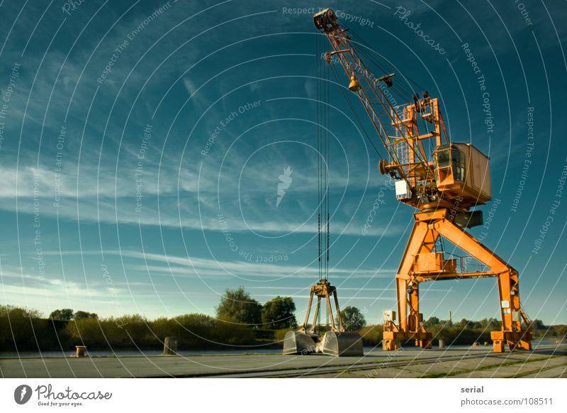 the crane Kran Wolken Anlegestelle verladen Schaufel Baum grün Menschenleer ruhig Stahl beweglich Froschperspektive Macht Hafen Kraft Schifffahrt Himmel orange