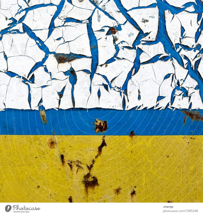 Angerissen Lifestyle Stil Design Mauer Wand Metall alt Coolness dreckig kaputt blau gelb weiß Farbe Verfall Rost Riss Hintergrundbild Farbstoff Farbfoto
