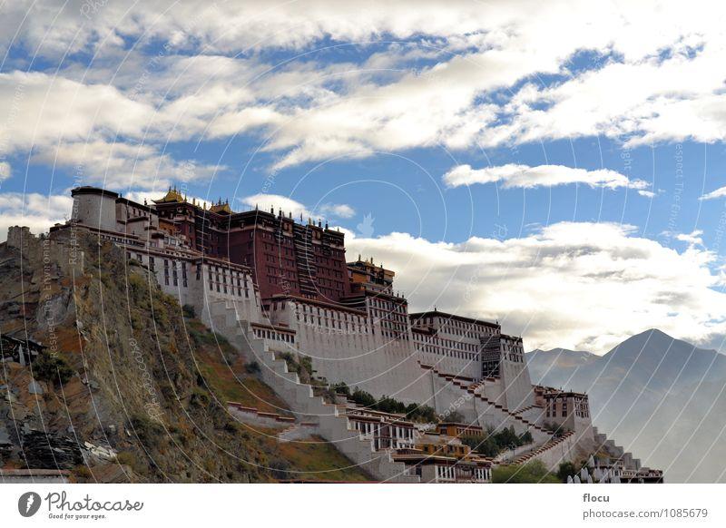 Potala Palast in Lhasa, Tibet, ehemaliges Haus des Dalai Lama Ferien & Urlaub & Reisen weiß rot gelb Berge u. Gebirge Architektur Gebäude Religion & Glaube