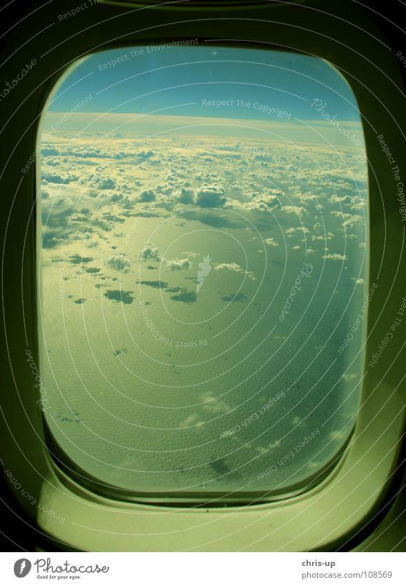 Über den Wolken 5 Aussicht Durchblick Klimawandel Sonne Luft Horizont Panorama (Aussicht) Flugzeug weiß Meer Wellen Ozon Umweltverschmutzung Kondenswasser