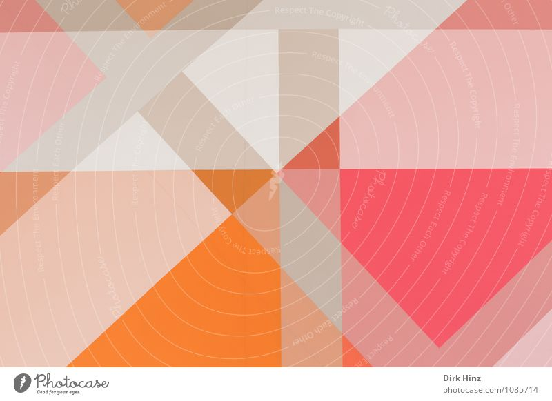 Ganz schön eckig Kunst modern grau orange rosa weiß Dreieck Strukturen & Formen Rechteck Streifen Muster Tapetenmuster überlagert überdeckt Doppelbelichtung