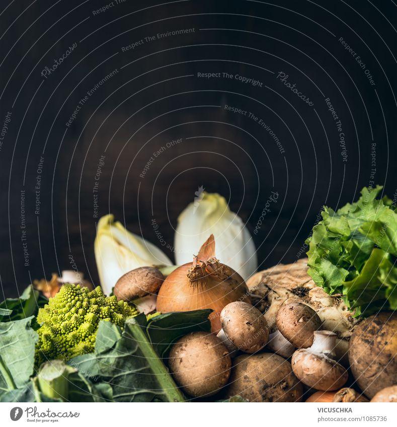 Saisonales Gemüse auf dunklem Hintergrund Natur Sommer Gesunde Ernährung dunkel Leben Stil Hintergrundbild Garten Lebensmittel Design kaufen Küche Bioprodukte