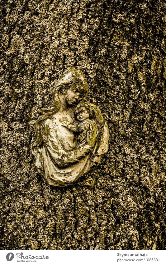 Maria - Ikone Mensch Frau Kind Jugendliche alt Junge Frau schwarz gelb Erwachsene Gesicht Leben Gefühle Liebe Glück Holz