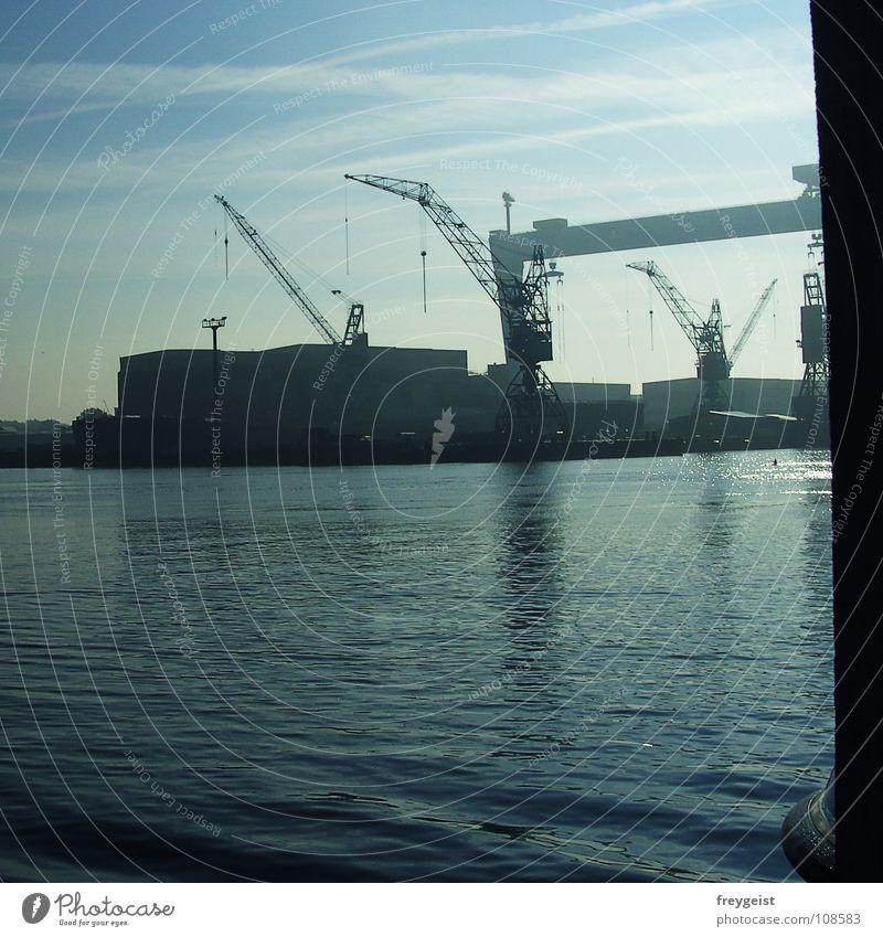 Kai Wasser Meer Industrie Hafen Anlegestelle Ostsee Promenade Kiel Schleswig-Holstein