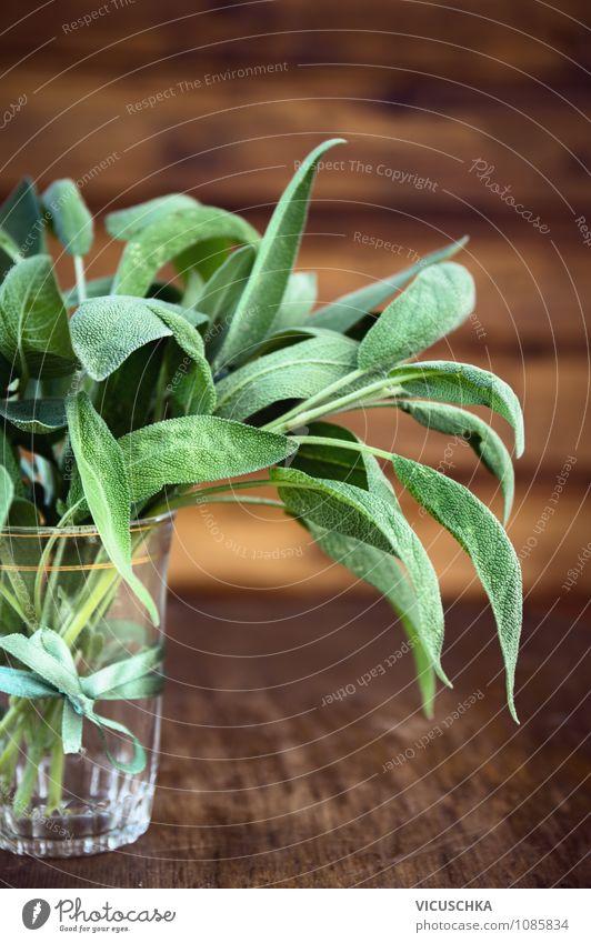 Salbei Bündel im Glas auf Holz Hintergrund Lebensmittel Kräuter & Gewürze Bioprodukte Vegetarische Ernährung Diät Stil Design Gesundheit Alternativmedizin