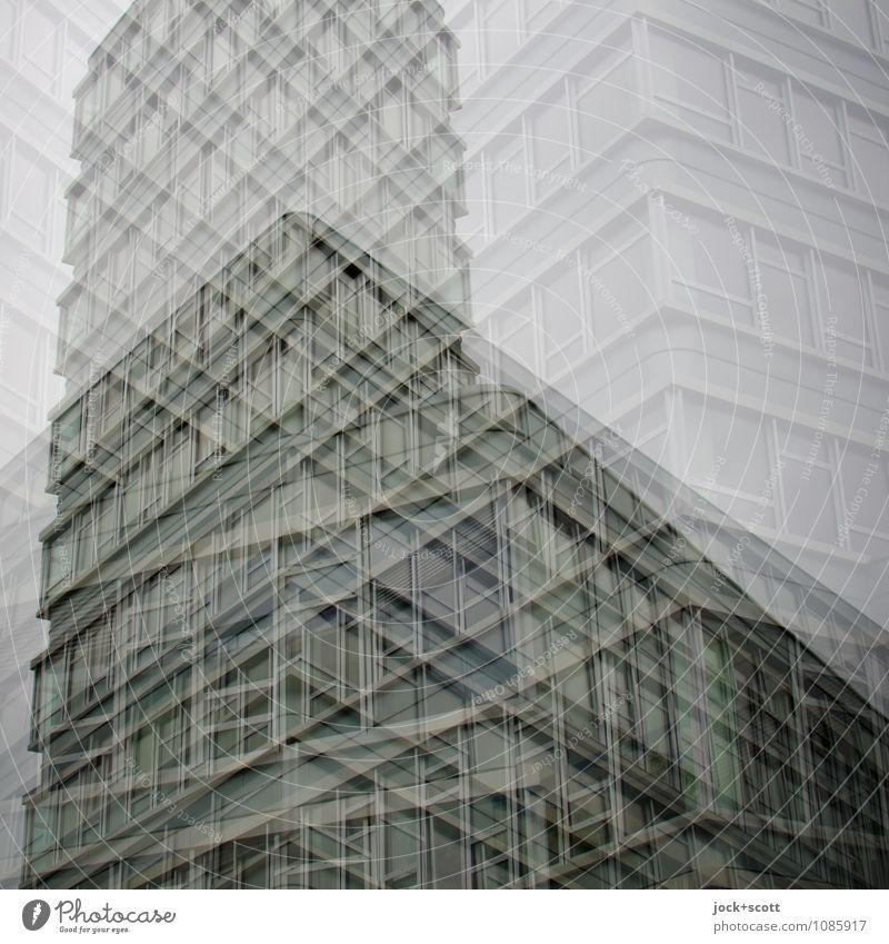 Auflösung Stadt Stil grau Linie Fassade Design modern Perspektive fantastisch Ecke Idee einzigartig Coolness Platzangst Konzentration chaotisch