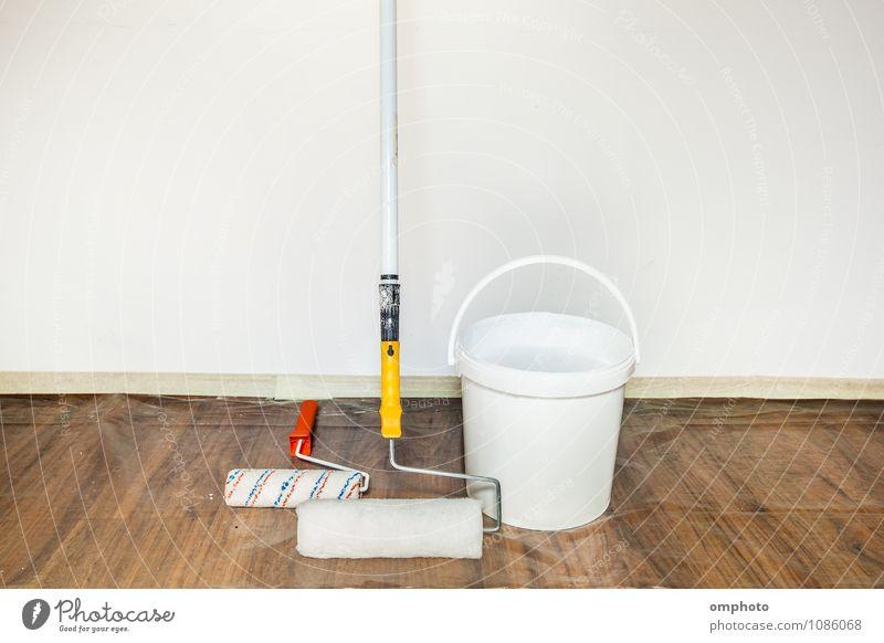 Farbwalzen und Eimer mit einer Farbe Design Haus Innenarchitektur Arbeit & Erwerbstätigkeit Werkzeug Gemälde Mantel Büchse streichen weiß Business Malerei