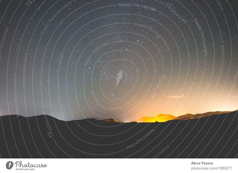 Under the Stars Ferien & Urlaub & Reisen Berge u. Gebirge Natur Landschaft Himmel Nachthimmel Stern Vulkan beobachten glänzend leuchten natürlich blau gelb