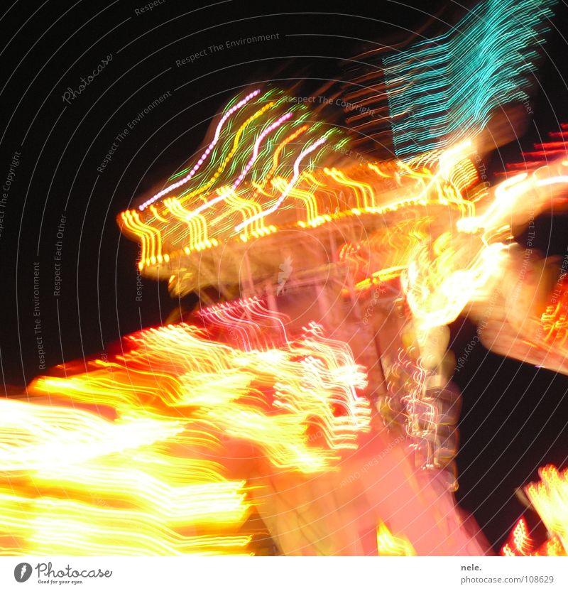 fête foraine blau rot Freude schwarz gelb Farbe hoch Geschwindigkeit modern Niveau Jahrmarkt drehen Mühle Verzerrung Windmühle schwindelig