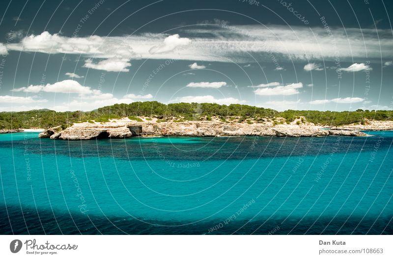Quer durchs Paradies Lust Luft beweglich genießen Meer Wolken Physik Ferien & Urlaub & Reisen türkis Wald Baum See Wasserfahrzeug Sportboot Strand tauchen Algen
