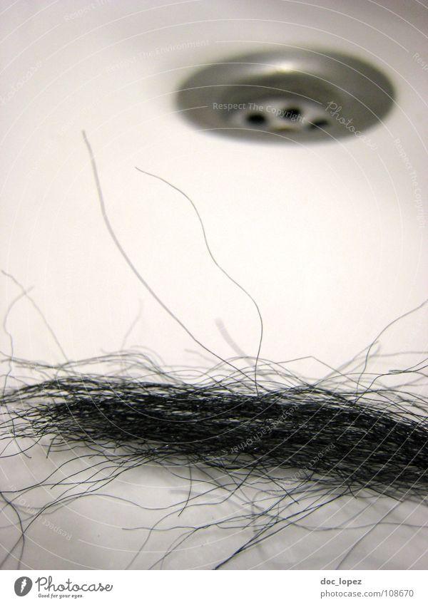 Ratte im Waschbecken Ekel Abfluss weiß schwarz Locken Haarsträhne Haare & Frisuren Haushalt Gastronomie sink Überraschung am Morgen Haare lassen Friseur