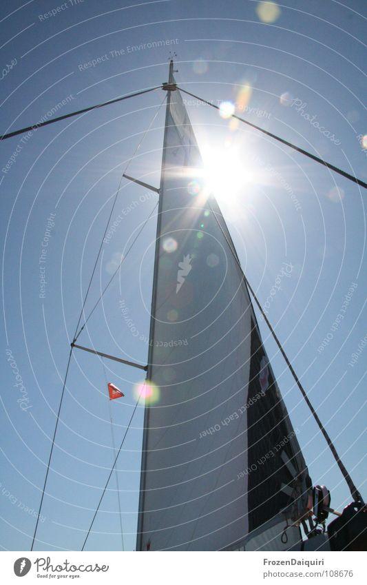 Takelage #3 Wanten Wolken Kroatien Weitwinkel Himmel Meer Ferien & Urlaub & Reisen Sommer Licht Baum Segelboot Wasserfahrzeug Segeln Wassersport hauptsegel