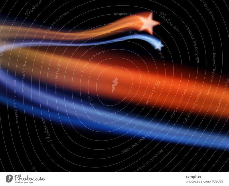 Sternschnuppe [*] Himmel blau Weihnachten & Advent Sonne rot schwarz Beleuchtung Lampe Party orange Design Stern Streifen Show Weltall Kitsch