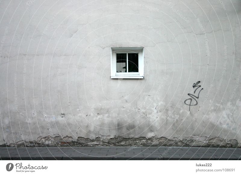 Wall with window Vilnius Detailaufnahme historisch old white grey pale sidewalk pavement reflection nice cement texture old town stucco decay weathered rough