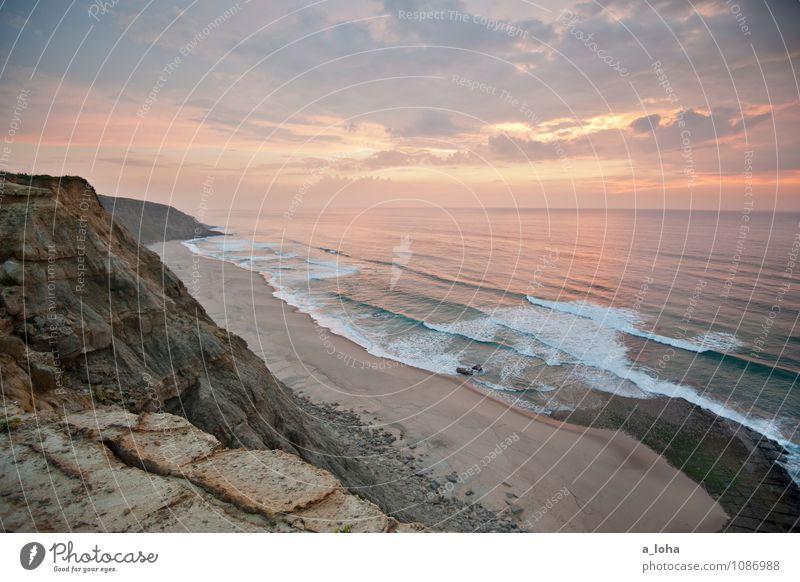 fernweh Himmel Natur Ferien & Urlaub & Reisen Wasser Sommer Sonne Meer Landschaft Wolken Strand Ferne Umwelt Küste Linie Sand Felsen