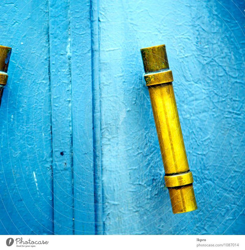 metallgraues Marokko in Afrika die Stil Design Dekoration & Verzierung Haus Kirche Gebäude Architektur Tür Holz Metall Kunststoff alt dreckig historisch