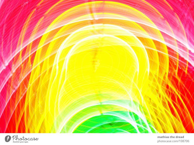 Farben 5 mehrfarbig grün gelb rot rosa Kreis Licht Geometrie Am Rand Punkt weiß Freude ringförmig Strukturen & Formen Linie Unschärfe