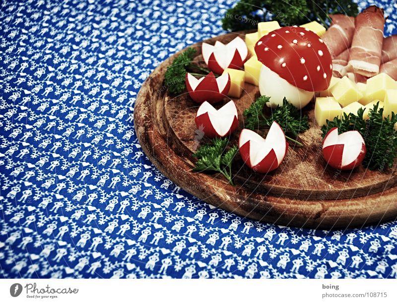 Fliegenpilzplatte für meine Freunde. Für meine guten Freunde Dekoration & Verzierung Ernährung Tisch Kochen & Garen & Backen Teile u. Stücke Gemüse Gastronomie Feste & Feiern Baumkrone Kräuter & Gewürze Ei Mahlzeit Pilz Tomate Salat Käse