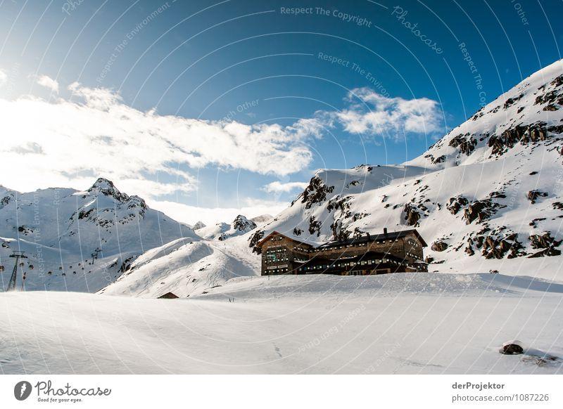 Skihütte, Skilift und Skipiste Natur Ferien & Urlaub & Reisen Landschaft Haus Ferne Berge u. Gebirge Umwelt Schnee Freiheit Felsen Tourismus Schönes Wetter