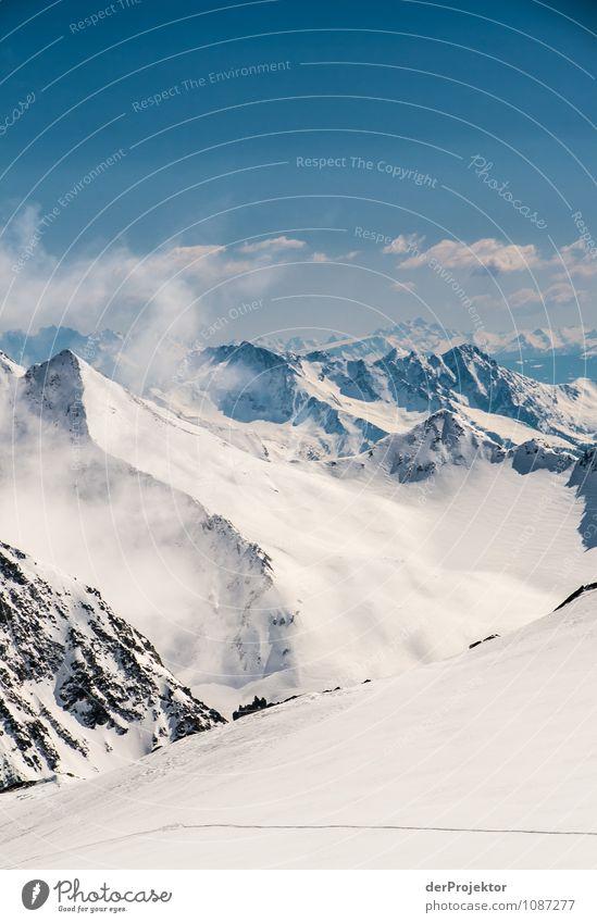 Panoramablick auf die Alpen Ferien & Urlaub & Reisen Tourismus Ausflug Ferne Freiheit Winterurlaub Umwelt Natur Landschaft Pflanze Schönes Wetter Eis Frost