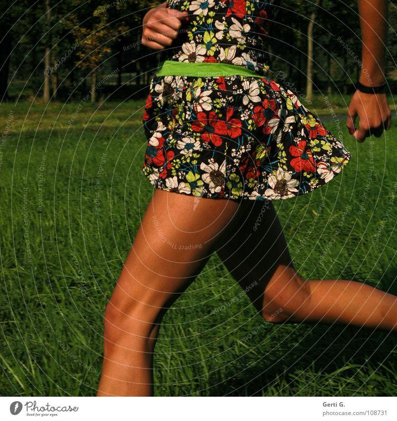 loping Frau Sommer Wiese Herbst Bewegung klein Beine braun Gesundheit Wind Freizeit & Hobby Arme laufen Junge Frau Streifen Kleid
