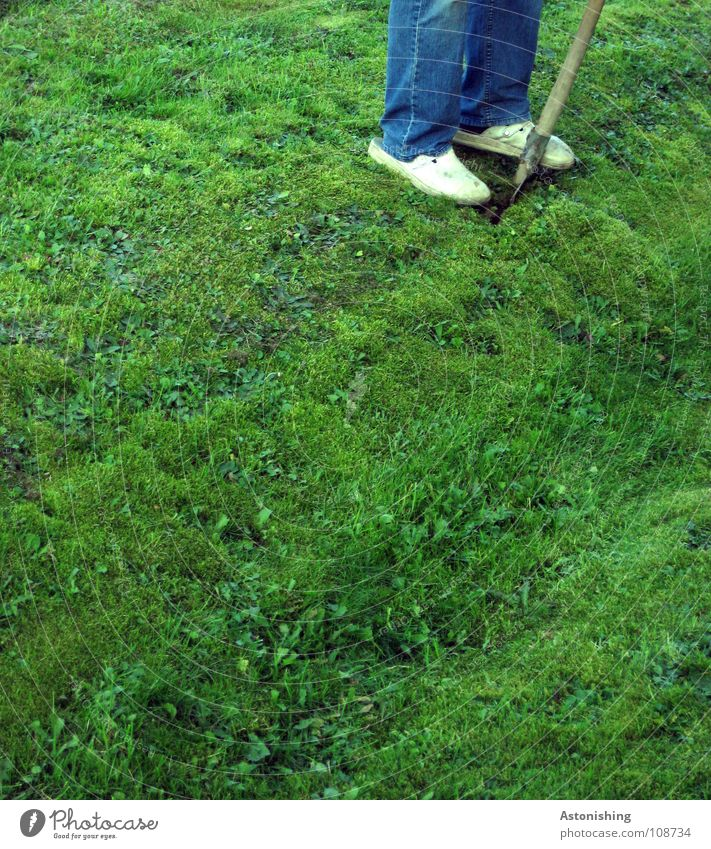Graben nach Australien Arbeit & Erwerbstätigkeit Schaufel Mann Erwachsene Beine Fuß Umwelt Natur Landschaft Sommer Schönes Wetter Pflanze Gras Garten Wiese Hose