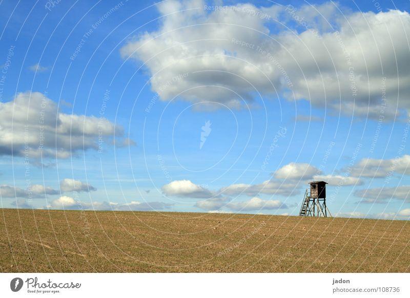 Turm f8 Himmel blau weiß Wolken ruhig Einsamkeit Ferne Wiese Landschaft Horizont Feld Hintergrundbild Wohnung Häusliches Leben Jagd