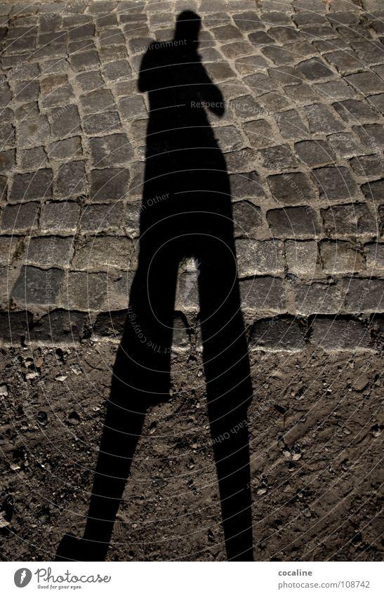 Frauchen Langbein Schattenspiel Schlagschatten Silhouette Licht Erdton Koloss Geister u. Gespenster Körperumriss Erde Sand Straße Kopfsteinpflaster Stein