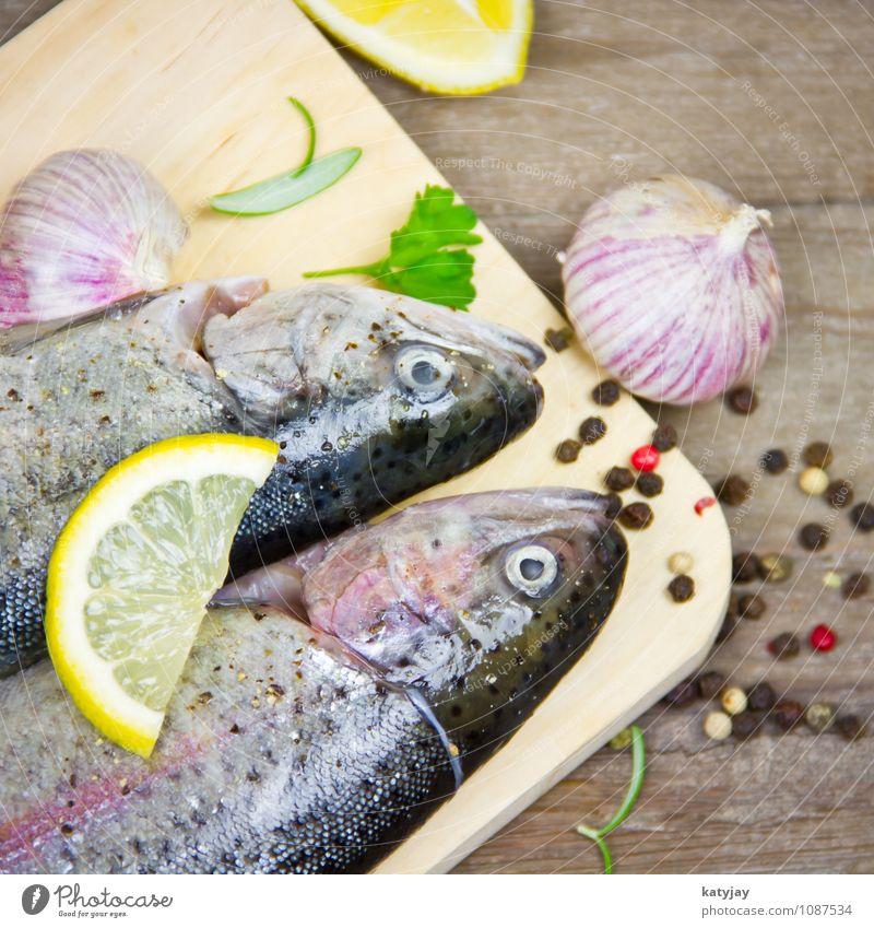 Forellen Fisch Zitrone kochen & garen Grill Grillen roh Sommer frisch mediterran Petersilie Rosmarin Knoblauch Knoblauchzehe Protein Bachforelle Lachs