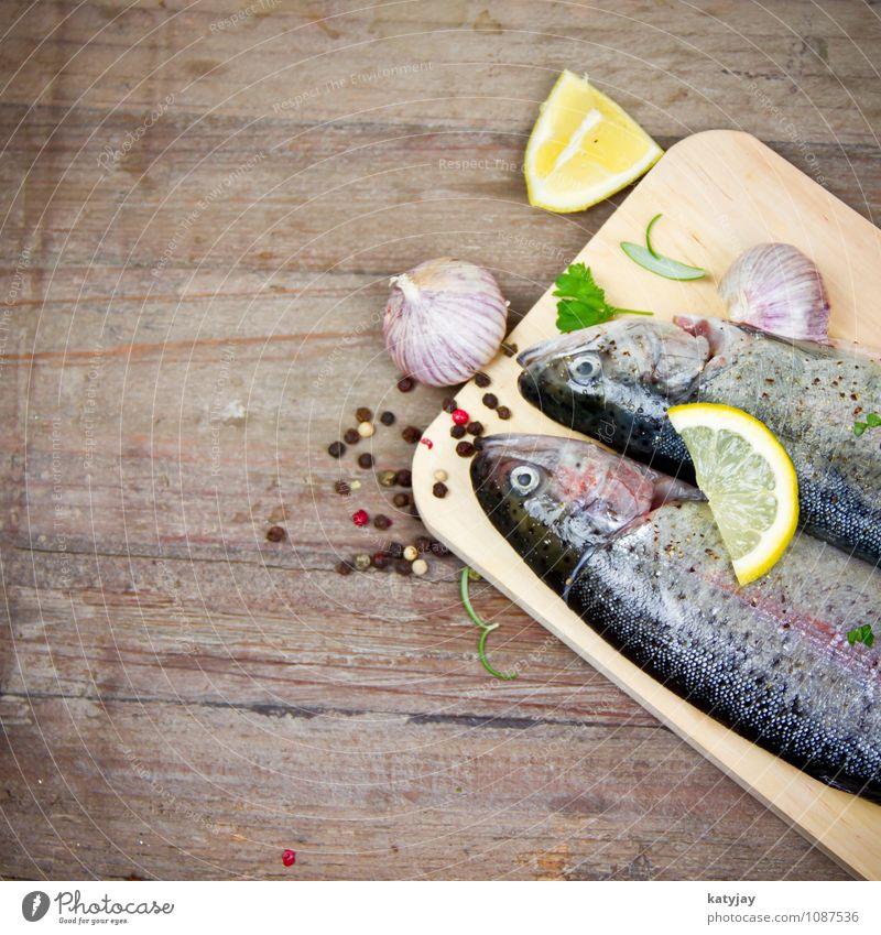 Forellen Gesunde Ernährung Speise Essen Foodfotografie Kochen & Garen & Backen Fisch Küche nah Restaurant Grillen Angeln Abendessen Zitrone
