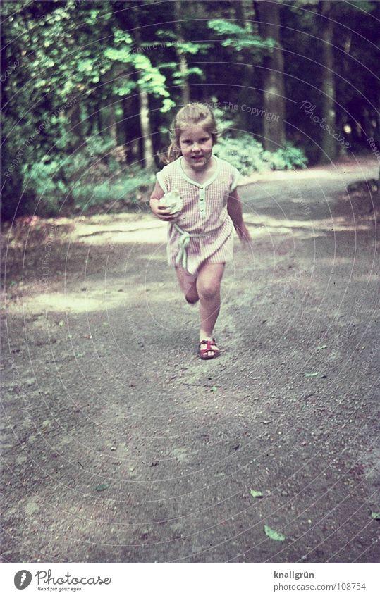 Glückliche Kindheit Mädchen Sommer Freude Wald Bewegung Wege & Pfade laufen rennen