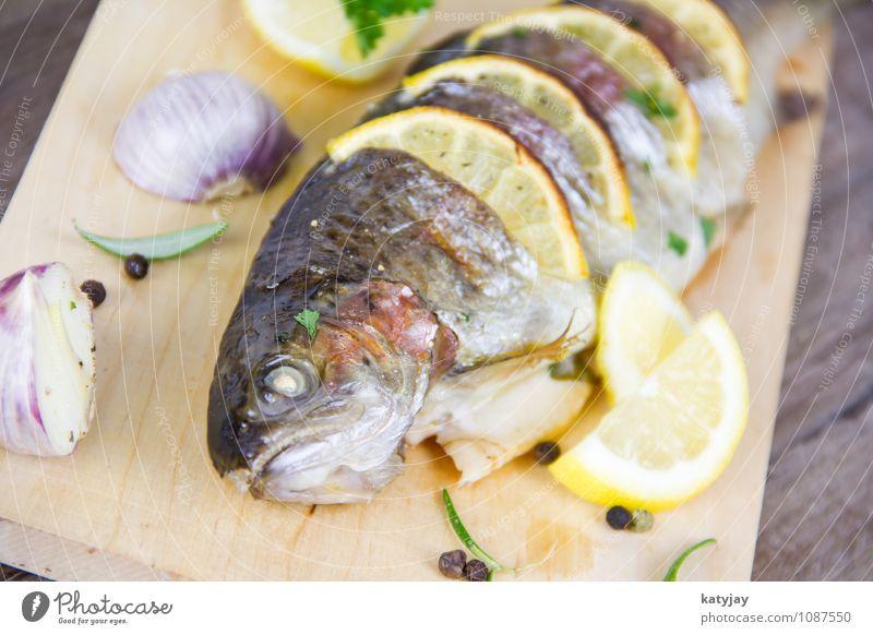 gegrillte Forelle Sommer frisch Ernährung Kochen & Garen & Backen Fisch nah Restaurant Grillen Abendessen Zitrone Braten Rosmarin Petersilie