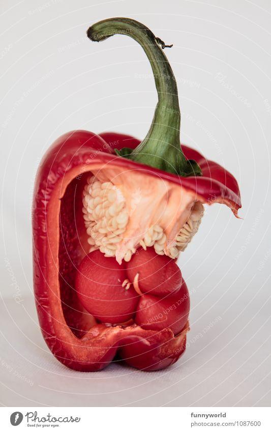 Alien - die heimliche Rückkehr grün rot klein Lebensmittel Kunst Ernährung Baby bedrohlich Mutter Gemüse Überraschung Stengel gruselig Surrealismus schwanger Diät