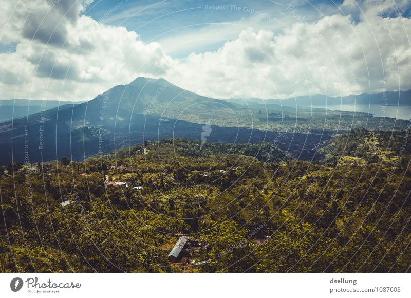 Vulkan im Vulkan Umwelt Natur Landschaft Pflanze Urelemente Himmel Wolken Horizont Sommer Klima Schönes Wetter gunung batur See Danau Batur Bali Indonesien Dorf