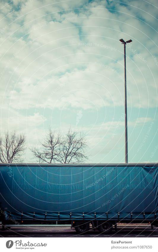 beleuchteter Textfreiraum Himmel blau Pflanze weiß Baum Wolken dunkel Straße Linie Design Verkehr stehen Grafik u. Illustration Güterverkehr & Logistik