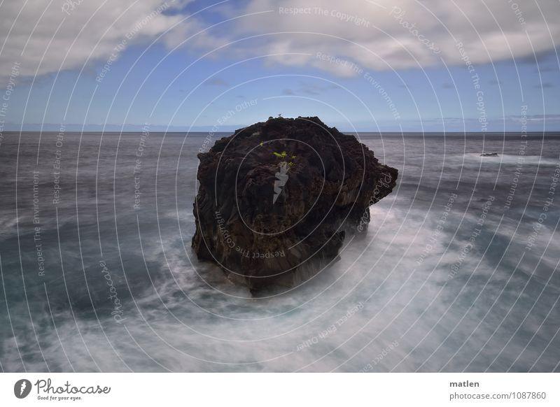 Eiland Himmel Natur blau Pflanze grün weiß Meer Landschaft Wolken braun Felsen Horizont Wetter Wellen Klima Insel