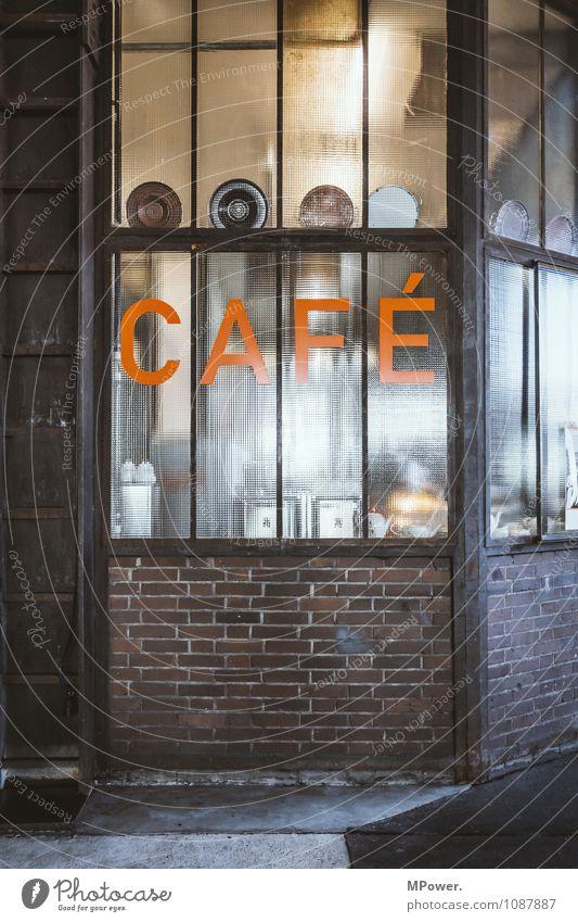 CAFE Zeichen Schriftzeichen Schilder & Markierungen Hinweisschild Warnschild Warnleuchte orange Ladengeschäft Farbfoto Innenaufnahme Menschenleer