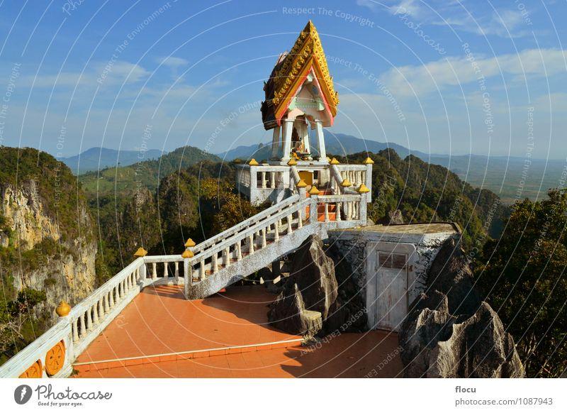 Himmel Ferien & Urlaub & Reisen blau schön Berge u. Gebirge Gesicht Architektur Gebäude Religion & Glaube Kunst gold Tourismus sitzen Insel Aussicht Platz