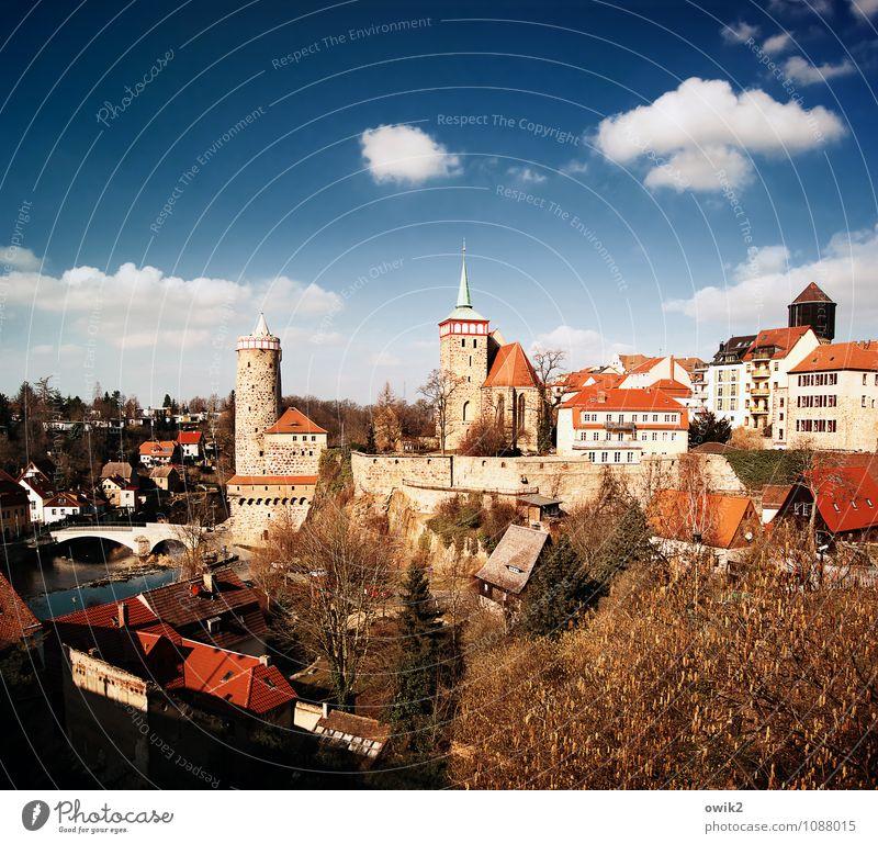 Gute alte Stadt Himmel blau Baum rot Wolken Haus Architektur Gebäude Glück Deutschland Horizont leuchten Idylle Fröhlichkeit Kirche