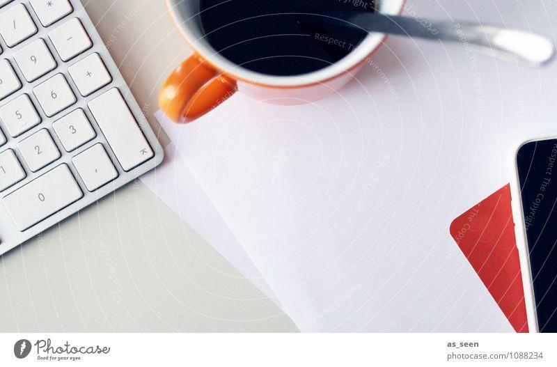 Business as usual Farbe weiß schwarz orange Technik & Technologie Telekommunikation Idee Papier planen Kaffee Medien Wirtschaft Karriere Schreibtisch
