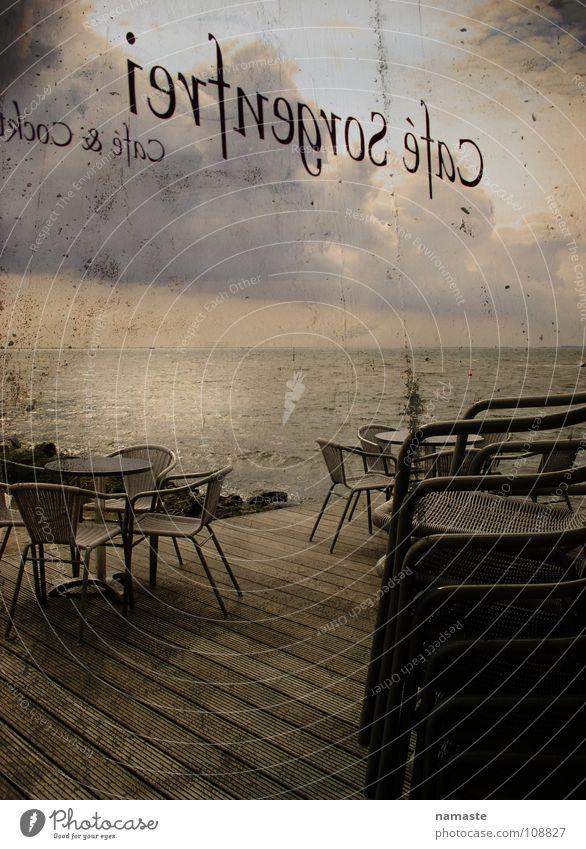 cafe sorgenfrei...das gibts wirklich:-) Café Meer Stimmung Wolken retro Kraft terasse Abend