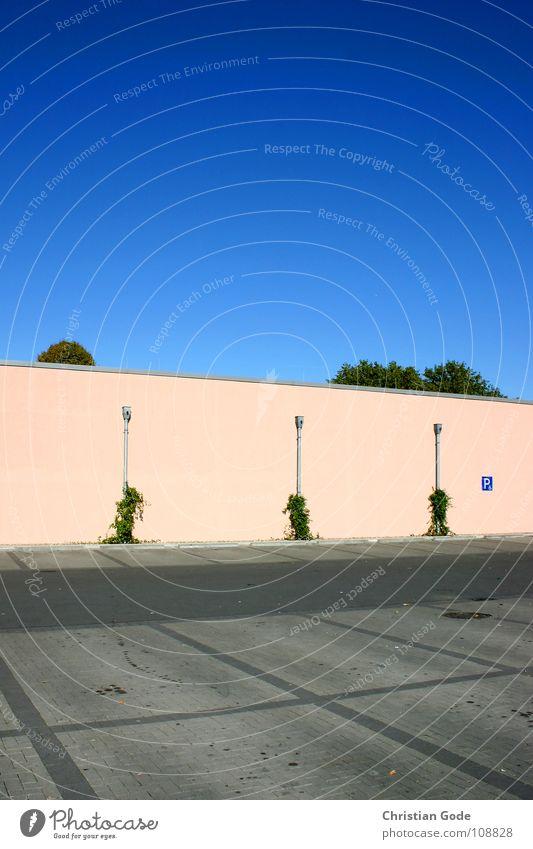 Parkplatzsituation1 Himmel Baum grün blau Wand grau Architektur rosa Beton geschlossen Asphalt Dinge Supermarkt Sonntag Lüftung