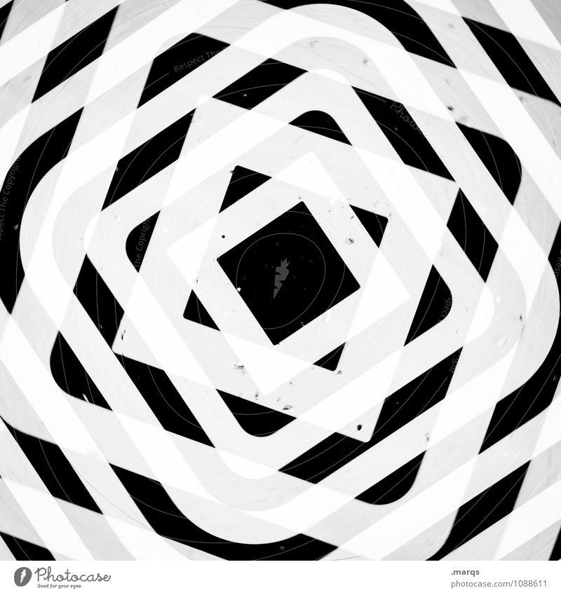 Q im Q im Q im Q weiß schwarz Stil Design verrückt Coolness Irritation Quadrat Doppelbelichtung Symmetrie Ornament hypnotisch