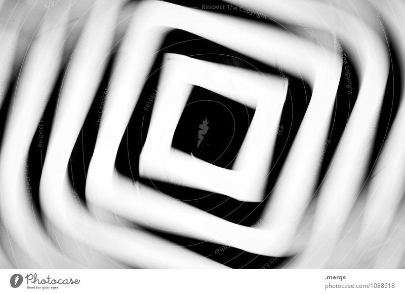 Alles Schwindel Linie drehen Geschwindigkeit verrückt schwarz weiß Stress verstört Bewegung Irritation hypnotisch Rauschmittel Kreisel Ornament Quadrat