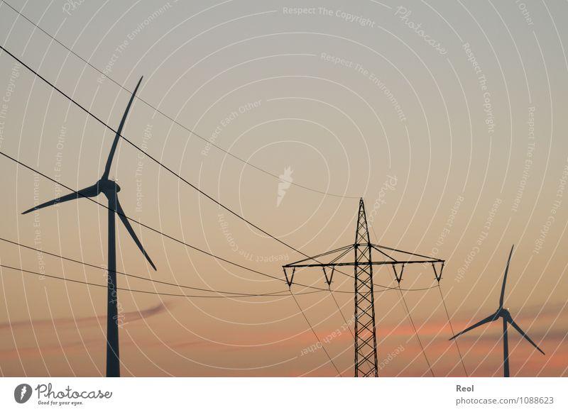 Strom Erneuerbare Energie Schönes Wetter orange rot Abenddämmerung Strommast Stromkraftwerke Elektrizität Stromtransport Energiewirtschaft Windkraftanlage