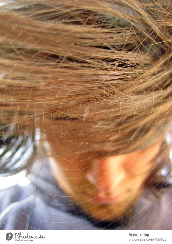 haarsträubend II Mensch Mann Gesicht Haare & Frisuren Mund braun Haut Nase Bart Selbstportrait blind Haarsträhne